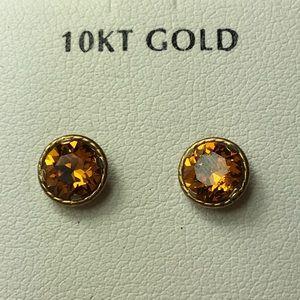 10K Gold Swarovski Crystal Earrings November Topaz